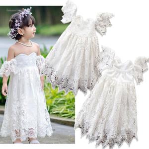 Designer weg von der Schulter-Spitze-Blumen-Mädchen-Kleider mit kurzen Ärmeln Kleinkind-Kind-Partei-Kleider Hochzeitsgast Kleider nach Maß