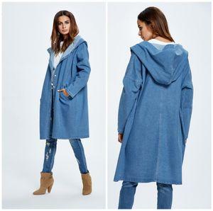 Denim Jacket Single Breasted Hooded Jeans Jacket Womens Designer Trench Coats Free Size Long Sleeve Fashion