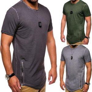 Tees Casual Masculino Vestuário Mens Verão Designer T-shirts cor sólida Pescoço V manga curta Zipper Men