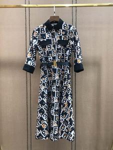 Milano Runway Abito 2020 donne del vestito del progettista stampa floreale High End risvolto collo Sashes Vestiti De Festa 012.207
