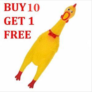 Buy10 ganhe 1 grátis Grande Fun Pet Dogs Shrilling borracha frango Chew Squeeze som gritando Toy