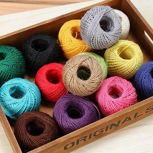 50m Colorful juta Spago Lino corda String Ribbon Imballare Arts Crafts Gift Box Cavo della stringa di nozze Tag Decoration