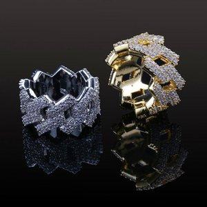 Nova moda Diamond Ring Homens Hip Hop Jóias Bling CZ Stone para fora congelado de ouro 18K Hiphop anéis de ouro