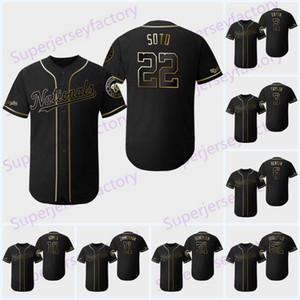 22 JUAN SOTO 2019 jerseys de Ouro Edição 7 Trea Turner Nationals 31 MAX SCHERZER Stephen Strasburg 6 ANTHONY RENDON Washington Jersey