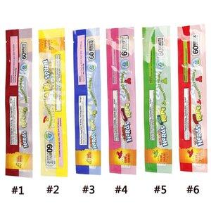 6 Tipos MEDICADO empollones cuerda vacío Embalaje Bas empollones cuerda de caramelo Nerdsrope gomosos Bolsas Tres borde de sellado de bolsas de embalaje Láminas alimenticias