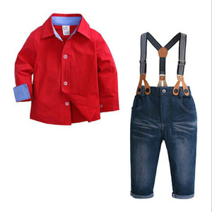 2pcs Kid Boy Clothes Set Red Shirt Jean Pant Suit Outfit Bib Overall Long Sleeve Children Clothing Autumn 1-7Years