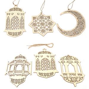 Favorire il Ramadan in legno Decor Eid Mubarak musulmano del Ramadan Moon Star Piastra Hollow Festival Partito Event Pendente islamico