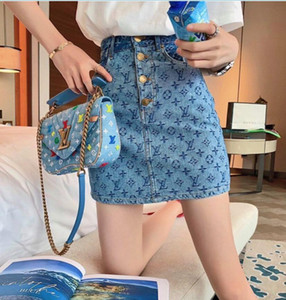 caderas falda del abrigo botón de la falda de lujo impresión de la industria pesada de mezclilla de talle alto diseñador de verano de 2020 mujeres de la falda femenina