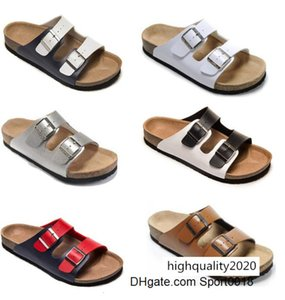 Summer beach style Men s Woman Flat Sandals Comfortable leather Casual two Buckle original Arizona Summer cow Genuine Leather MVT9brang