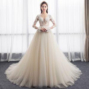 Mingli Tengda Сексуальное свадебное платье с глубоким V-образным вырезом Роскошные кружева Dream Princess Невеста Простые свадебные платья с длинным рукавом vestidos de noiva 2019