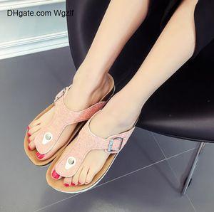 bokon 2020 мода лето пробковые тапочки сандалии новые Женщины Повседневная пляжная двойная пряжка печатные скольжения на слайдах обувь плоская белая черная розовая