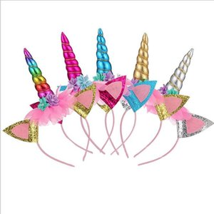 líder do partido europeu e americano bonito unicórnio bola de cabelo hoop Halloween aniversário fivela de chifre crianças princesa cabeça WY1166