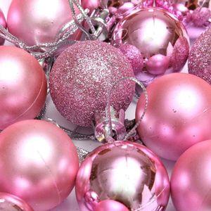 24Pcs Chic Christmas Baubles Tree Plain Glitter XMAS Ornament Ball Decoration Pink