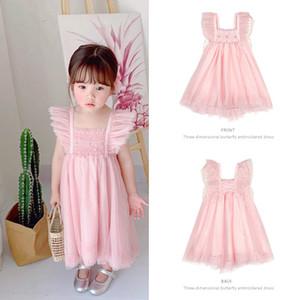 2020 filles Butterfly Wings Enfants d'été robe de princesse bébé Perler Robe rose gris Lolita Robes