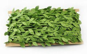 Hojas de hojas de simulación vides verdes guirnalda accesorios de decoración hojas verdes de tela hojas de ratán flores artificiales EEA403