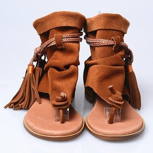 Женская Гладиатор Flat Sandals кисточки Fringe Real замши кожаные ботинки клип Toe Bohemia Роман Cowboy Ретро 3Colors Лето Размер