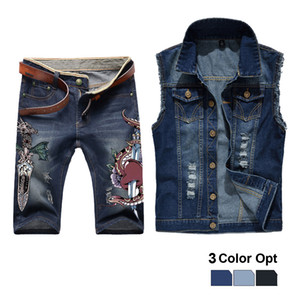 Men Jean Vest Jacket Set Retro Ripped Destroyed Skinny Hole Top Denim Short Pants 1 2 Trousers Summer Beach Wear Blue Sword