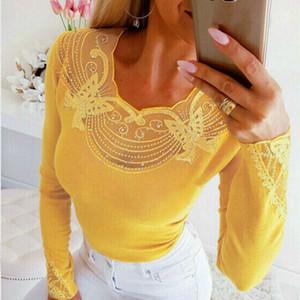 Женщины Хлопок бабочки бисером V-образным вырезом Блузка основывая футболку Тонкий Причинно Вверх