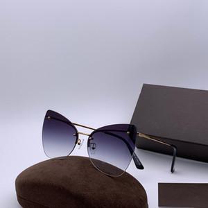 luxe 0716 femmes Lunettes de soleil métal cadre des yeux de chat Lunettes charmant style élégant verre anti-UV400 lunettes de loisirs avec ca
