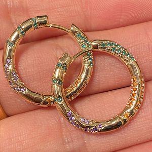Joyería de lujo 2020 nuevo de la mujer Pendientes Pendientes de rayas de colores Diseñador oído del aro del círculo pendientes delicada Ins colgante del acero inoxidable