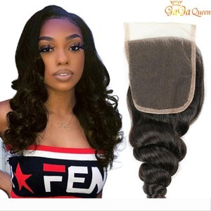 Singe one closure 4x4 loose wave unproceseed brazilian loose wave human hair lace closure nature black