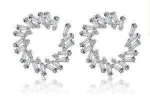 alta qualidade dimaond cristal Rhombic círculo 925 prata lady''s earings 23.27dfgd