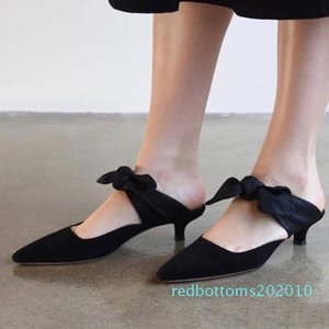 Fashion knot Mules Kitten Heel Women Shoes Slippers Butterfly Knot Wedding Party Shoes Pointed Toe Slip On Slides Summer Sandals r10