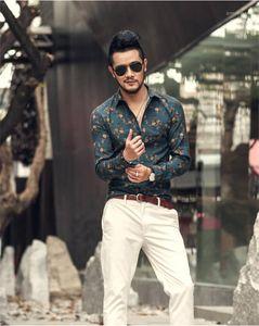 Abajo al collar para hombre de manga larga de las camisas ocasionales adolescente de la manera Ropa para hombre florales del vestido del diseñador camisas estampadas Turn