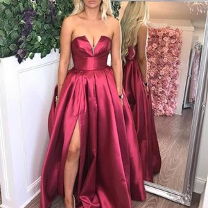 Bourgogne satin prom robes longues 2020 Grape de Split ROCHII Robe Tenue de soirée Party formelle Taille Plus vestidos de gala
