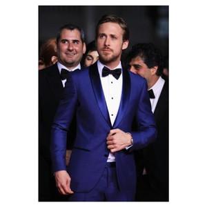 Royal Blue MenTuxedos Noivo De Casamento 2019 Duas Peças Slim Fit Dos Homens De Negócios Ternos Padrinhos Tuxedo Barato Prom Suit (Jacket + Pants + Tie)