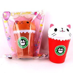 Cut Coffee Cup Cat Scented Squishy Slow Rising Squeeze Toy Collection Cure Gift