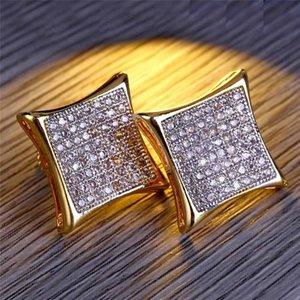 Hiphop Zircon Earrings For Women Mens Brand Design Gold Full Diamond Pierced Ear Stud Luxury Screwback Earring Accessories