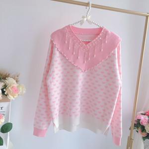 Японский Kawaii розовый мягкий свитер девушки V-образным вырезом блесток кулон любовь свитер кукла воротник персик сердце женщины