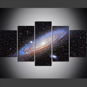 5 pezzi di grandi dimensioni Canvas Wall Art Pictures Creative Beautiful Galaxy - Space Universe Art Print Pittura a olio per soggiorno
