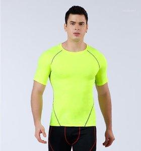 Быстрое высыхание сплошной цвет Tshirt Мода Homme с коротким рукавом Фитнес Tops конструктора Mens спортивной одежды Тощий дышащий