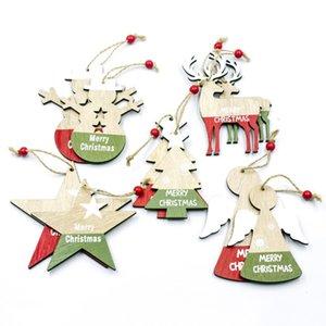 Enfeites de Natal Pendurado de madeira Decorações da árvore de Natal Pendant Drop Ornaments Xmas