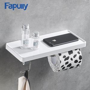 Fapully papel higiénico titular individual montado en la pared rollos de papel soporte pared Holder Accesorios de baño de ABS y acero inoxidable estante T200425