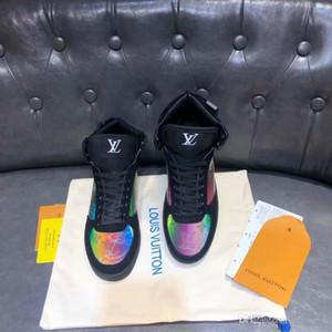 2019 Rivoli Sneaker Boot Mens Designer Chaussures de luxe en toile Monogram Top Sneaker Top qualité Mode véritable Sneakers en cuir avec la boîte