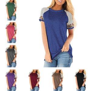 Mulheres T-shirt do pescoço de grupo listrado Leopard retalhos T-shirt de manga curta Casual Top Tee Spring Summer Pullover Top Sports Gym Blusa D21707
