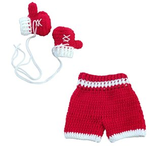 0-3month Baby Crochet Photography Props Shoot Newborn Photo Cool Boy Costumes Infant Pants Clothing Set