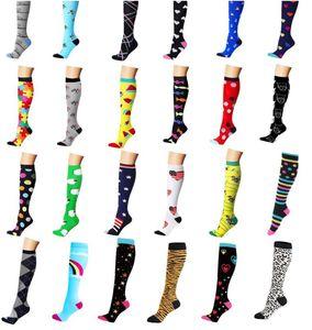 Calze a compressione in cotone da donna per uomo Best for Medical Running Circolazione da recupero atletica calze da viaggio Calze al ginocchio Elastico colorato M L