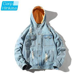 DARPHINKASA Hombres chaqueta con capucha de Hip Hop costura agujero chaqueta de los hombres del bordado de impresión calle ropa de calidad alta 5XL