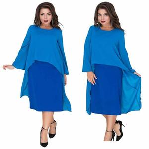 6xl Womens Summer Designer Fashion Kleid Rundhalsausschnitt Ashymmetrische Batwing Kleidung Polyester Chiffon Beiläufige Lose Bekleidung