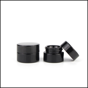 5ml Cosmetic Black Glass Jar con Classic Screw Top Frascos vacíos Concentrate Container Factory Supply Envío gratis