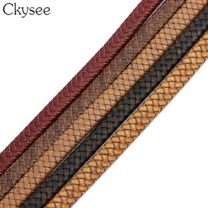 Ckysee 1yard lot Braided Real Leather Cord Width 10 12mm For Bracelet Findings Flat Leather Rope Thread For DIY Jewelry Making