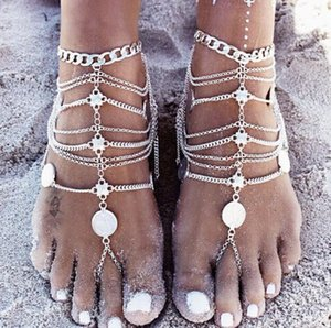 Barefoot Sandals Stretch Anklet Chain with Toe Ring Slave Anklets Chain Sand Wedding Bridal Bridesmaid Foot Bohemian Beach Party Jewelry