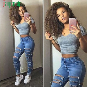 Jaycosin Fashion Spring Femme Sports Denim Skinny Pantalon déchiré Taille Stretch Jeans Slim Crayon Pantalon # 40