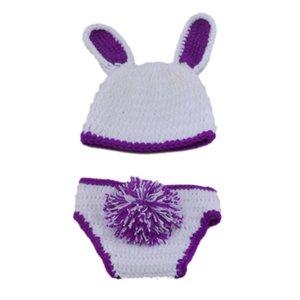 Recém-nascido Coelhinho da Páscoa Outfit, Handmade Crochet Baby Boy Menina Roxo Branco Coelho Chapéu e Fralda Capa Set, Animal Infantil Foto Prop