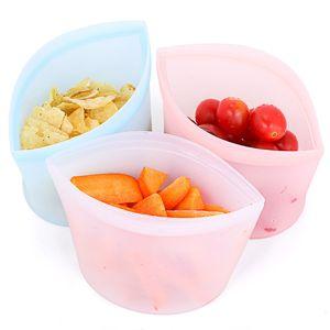 3pcs set Reusable Ziplock Bag Zip Top Containers Stand Up Silicone Food Bag Sandwich Kitchen Storage Leakproof Zip Lock Bag Set