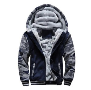 Men's Jacket hooded Coat tops Plush Lining Winter Jacket Coat Long-sleeved Sports Zipper Hoodies men Clothing Thickened Top sweatshirts